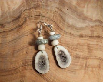 Deer Antler Slice and Soapstone Bead Earrings