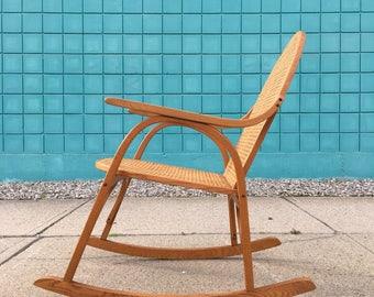 Vintage | Vermont Tubbs Oak + Cane Rocking Chair | Mid Century