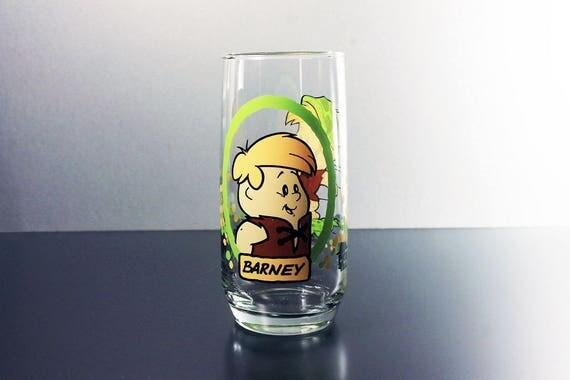 Tumbler, Flintstone Kids, Barney, Pizza Hut, Promotional Glass, 1986, Cartoon Character