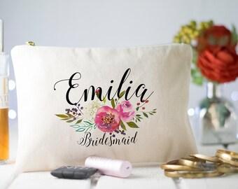 Bridesmaid Makeup Bag, Gift for Bridesmaid, Make Up Bag, Bridesmaids Gifts, Monogram Cosmetic Bag, Floral Makeup Bag, Bridal Party Gifts