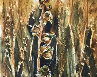 Original watercolor art, Turkish grass, watercolor painting, deadwood at sunset