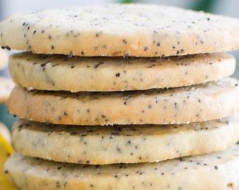 lemon poppy seed  shortbread cookies,lemon  butter cookies,  organic cookies, tea cookies