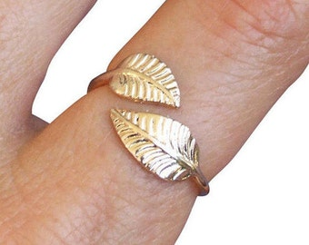 Gold Ring, Leaf Ring, Two Wrap Leaves Ring, Floral Ring, Adjustable Ring, Band Ring, Gold Plated Ring