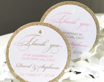 Set of 25 Wedding Thank You Tags -  Pink and Gold Thank You Tag - Gold Glitter Tag - Personalized Thank You Tag - Shimmer Tag