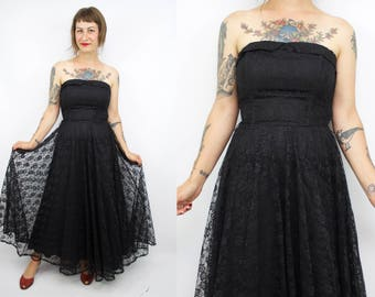Vintage 90's Black Lace Strapless Party Dress / 1990's Lace Formal Dress / 50's Inspired / Women's Size Small