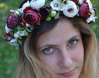 Bridal flower crown Summer outdoors Wedding flower headband Ivory Burgundy flower crown Summer photo shoot Bridal hair accessories