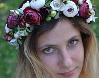 Bridal flower crown Summer outdoors Wedding flower headband Ivory Burgundy flower crown Summer photo shoot Bridal hair accessories