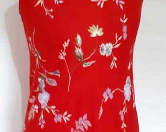 Vintage 80s red floral slip cami maxi dress by Miss Selfridge for Freemans Dress size medium