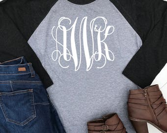 Set of 5 bridesmaid monogram shirts . Christmas shirts . Monogram raglan baseball shirts . Baseball t-shirts . Monogram initial tees 5oV1xba