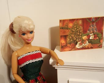 Miniature Art Work/ miniature picture/ playscale/ barbie size/ 1/6 scale/ 1/12 scale/ wooden sign/ christmas sign/ winter scene/ dollhouse