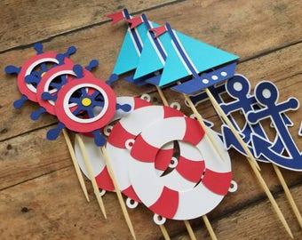 Nautical Theme Cupcake Toppers... Baby Shower... Birthday... Baby Boy