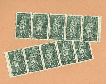 10 Vintage Unused US Postage Stamps 1958 Gardening Horticulture 1100 Woman with Cornucopia 3 Cents Mail Letters Collect or DIY Crafts ~ 8351