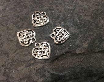 Celtic Knot Heart Charms Package of 4 charms Silver Celtic Knot charms Irish Jewelry Irish charms