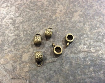 Large Hole Filigree Bails in Antique Bronze finish Package of 5 Bails or charm holders  Fits European Bracelets