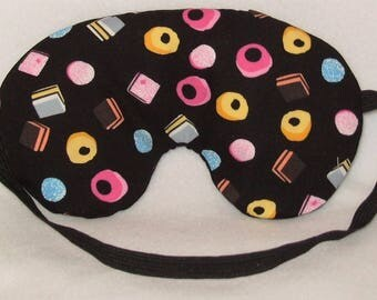 Handmade Liquorice Allsorts Candy Sweets Cotton Sleep Eye Mask Blindfold Blackout Migraine Relief