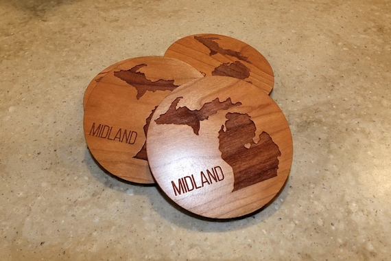 Wooden State Coasters with State and City Engraved on Maple or Cherry Wood. Patio-Home Decor-Man Cave-Housewarming Gift-Dining Room