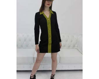 90s Dress, 90s Mini Dress, 90s Vintage, Go Go Dress, 60s Inspired Dress, Color Block Dress, 90s Long Sleeve Dress, Mini Black Dress, 1990s