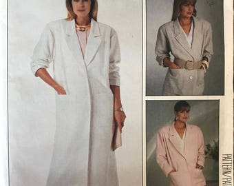 McCalls 2917 - 1980s Womans Day Notched Collar Jacket or Duster Coat - Size 8 10 12