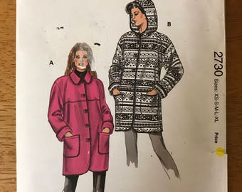 Kwik Sew 2730 - Yoked Winter Coat with Collar or Hood and Shaped Hem in Mid Thigh Length - Size XS S M L XL