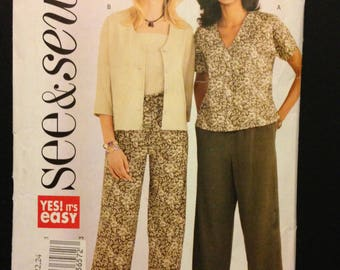 See & Sew 3886 Very Easy Casual Separates Unlined Jacket, Top, Camisole and Pull on Pants - Size 20 22 24