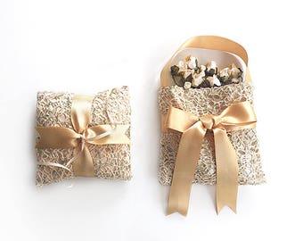 EXPRESS SHIPPING, Wedding Ring Bearer Pillow, Flower Girl Basket, Fishnet Sequin Ring Pillow, Gold Ring Pillow, Boho Wedding, Gold Ribbon