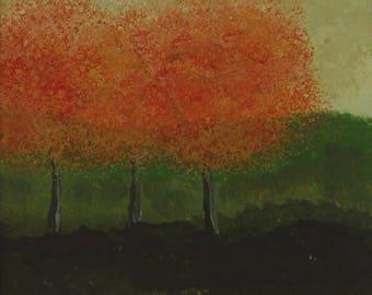 """Acrylique sur papier """"Arbres"""" - Oeuvre unique et originale de Géraldine Theurot"""