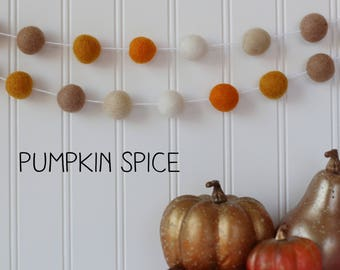 fall decor felt ball garland thanksgiving decor pumpkin decor pom pom garland - Pumpkin Decor
