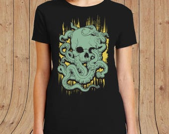 Ladies skull octopus T-shirt