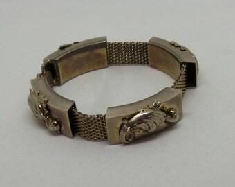 Vintage bracelet - silver scroll bracelet