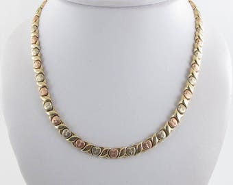 """14k Yellow White And Rose Gold X Heart Style Necklace 17 1/4"""" 22.8 grams"""