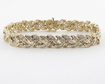 Diamond Tennis Bracelet 14K Yellow Gold Wave Style 7 Inches 3.00 carats