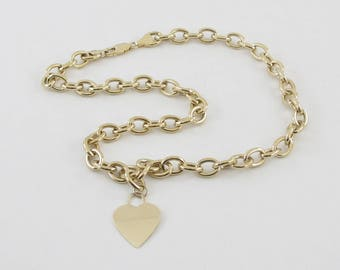 14k Yellow Gold Rolo Link Dangling Heart Necklace 17 Inches 19.8 grams