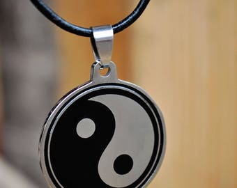 Yin Yang Black and Silver Plated Pendant Choker (Bohemian, Gypsy, Hippie)
