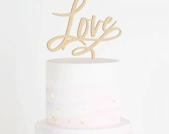 Love Cake Topper, Love Wedding Cake Topper, Engagement Cake Topper, Bridal Shower Cake Topper, Rustic Cake Topper, Wood Topper