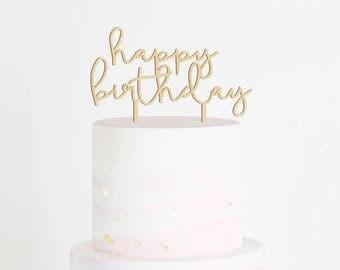SALE - Happy Birthday Cake Topper, Happy Birthday Wood Cake Topper, Script Cake Topper, Cake Smash Topper, Cake Smash Decor, Birthday Prop