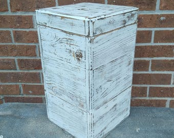 18 Inch Tall Pedestal, Rustic Wooden Box, Distressed White Box, Wooden Riser, Farmhouse Decor, Storage Display Block, Handmade Storage