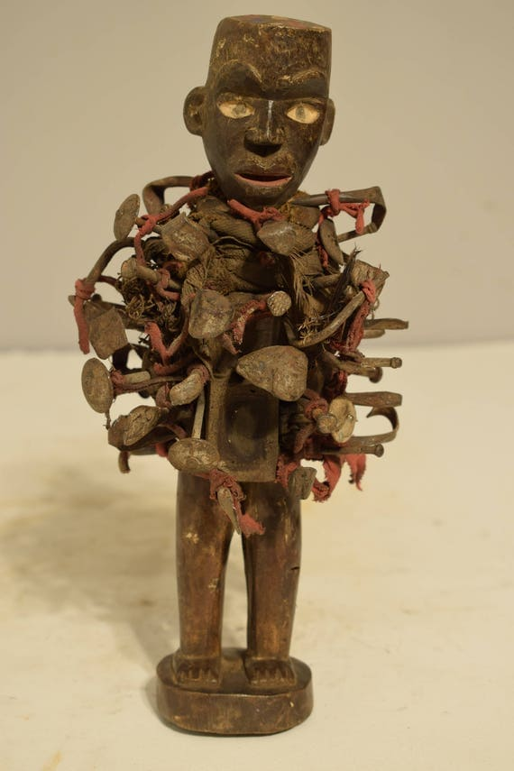 African Yombe Nail Fetish Wood Statue Congo Blades Nails Protection Nail Fetish