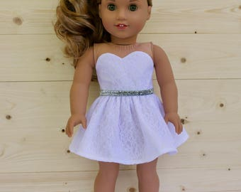 18 inch doll clothes AG doll clothes White Lace Strapless Dress made to fit like American Girl doll clothes