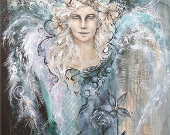 Angel image 'Hope' ღ hope ღ - 20x26cm fine art print, Angel, Angel art print, Giclée