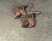 Rustic copper earrings, forged metal, riveted layers, unakite gemstone