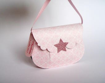 Box shaped sweets bag pink and white for christening, wedding, communion, birthday, handmade