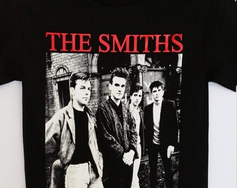 THE SMITHS- Red Letters Band Picture- Black Unisex T-Shirt Sizes S-2XL