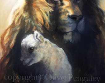 Poster Print - 'Lion and Lamb' by Oliver Pengilley