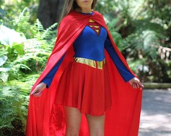 Quality Superwoman  Dress and Cape  Costume ~  Halloween Fantasy Costume ~ Party Costume  ~ Theatre ~ Masquerade  Parade ~