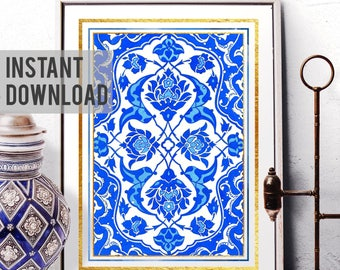Printable Art, Vintage Blue Flower Tile Wall Art, Ottoman Floral Motif Watercolor Painting, Traditional Turkish Flower, Digital Download 052