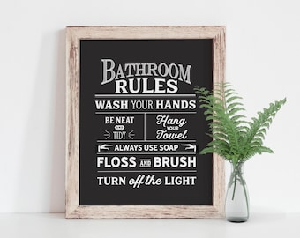 Bathroom Rules Print, Bathroom Art Print, Vintage Bathroom Sign, Black and White Bathroom Art, Rustic Bathroom Sign
