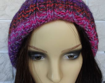 Hand Knitted Women's Pink And Grey Random Two Style Winter Hat With A Light Brown Pompom - Free Shipping