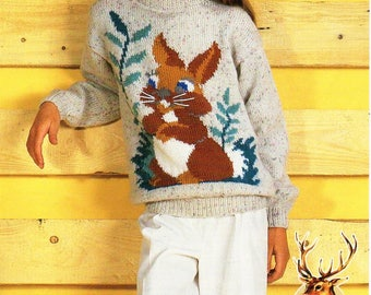 """childrens rabbit sweater knitting pattern pdf childs bunny jumper 26-44"""" DK light worsted 8ply childrens knitting pattern instant download"""