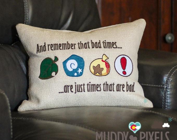 Embroidered Animal Crossing Unique Burlap Pillow