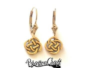 Small Gold Celtic Knot Earrings - Celtic Earrings - Irish Earrings - Scottish Earrings - Gold Celtic Knot Jewelry